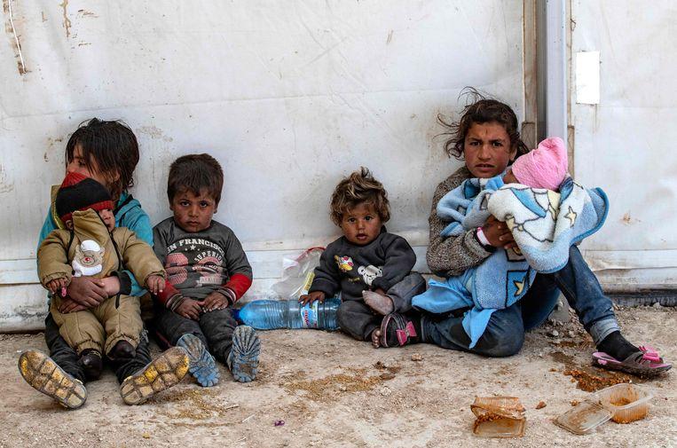 Syrische kinderen in een opvangkamp in al-Hol in het noordoosten van het land. Beeld AFP