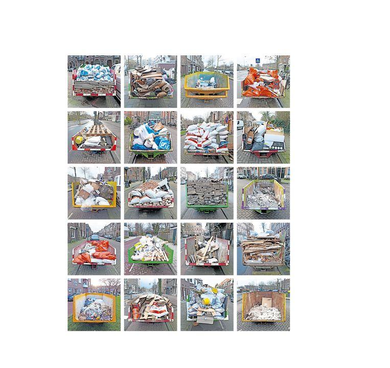 Bij het fotograferen van vuilcontainers in de stad viel Arnold Weel vooral de signatuur van aannemers en klussers op. Van gooi-en-smijtwerk tot beheerst gestapel en allerlei tussenvormen. Beeld