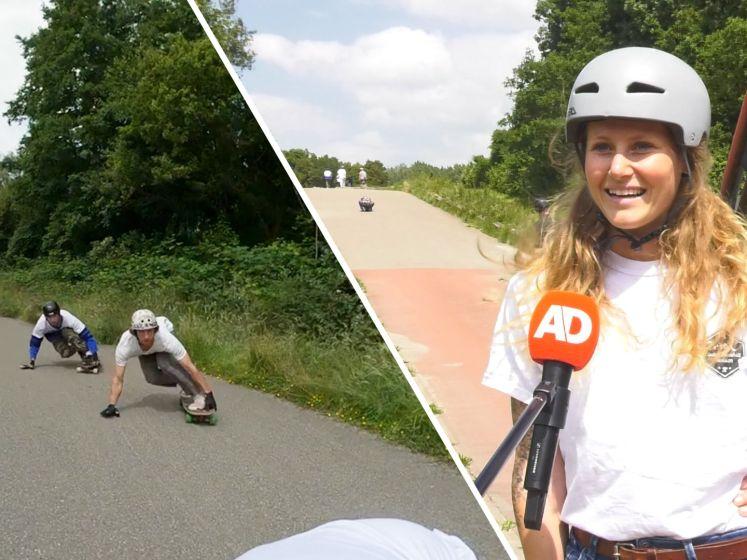 Met 60 km/u van een berg af met downhill longboarding