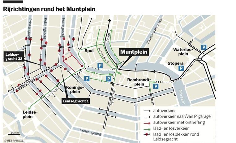 Rijrichtingen rond het Muntplein Beeld Chantal van Wessel