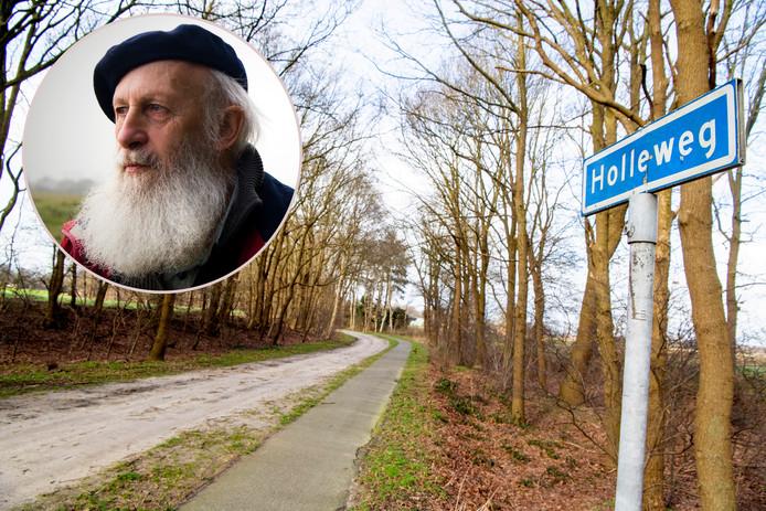 De Holleweg in Oudleusen, een soort steeg met veel zand. Inzet: Wim van Lenthe