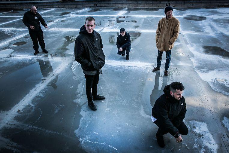 Het Brusselse hiphop-collectief 'Stikstok'.  Beeld Bas Bogaerts