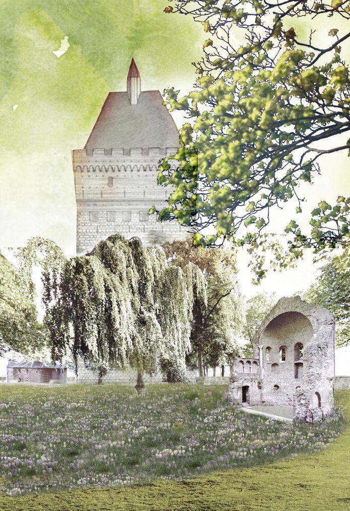 Een impressie van de donjon in het Valkhofpark.