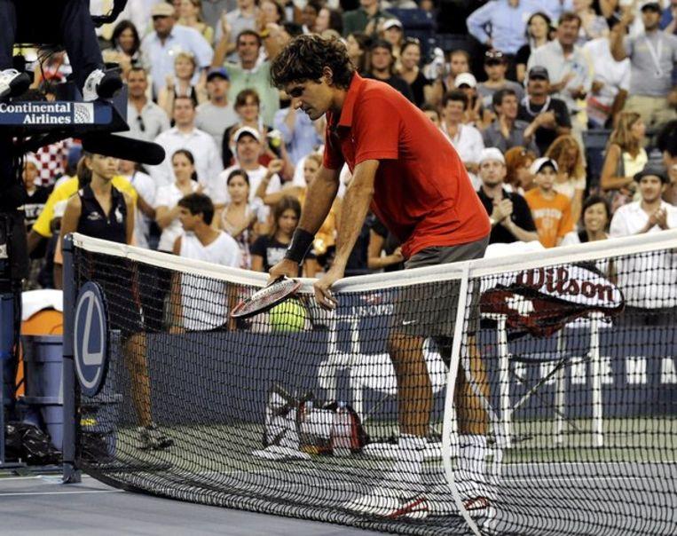 Federer is leeggespeeld tegen Andrejev. Foto EPA/Andrew Gombert Beeld