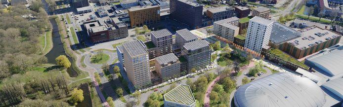 Zo komt de Middenzone in het Gezondheidspark in Dordrecht eruit te zien. Er komen 720 woningen en veel groen.