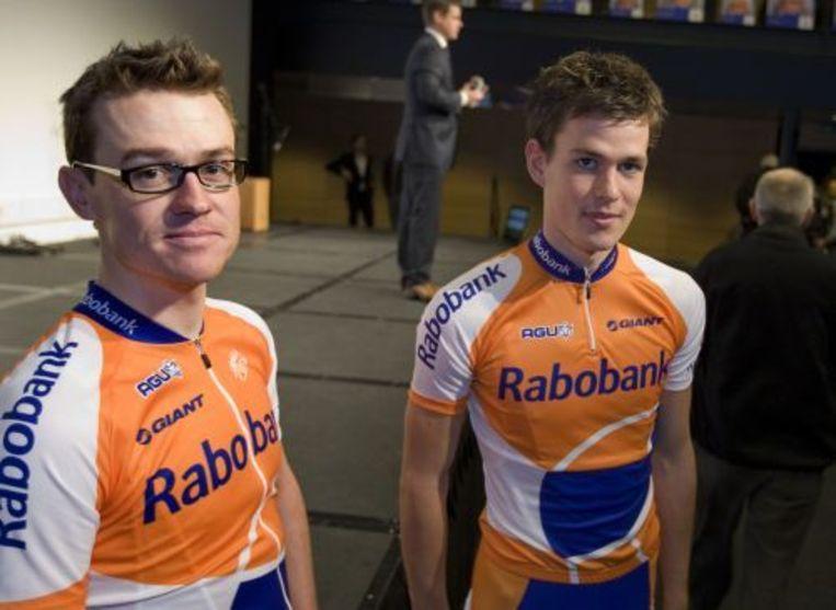 De Belg Nick Nuyens (L) en Joeri Adams (R) tijdens de Rabo-wielerploeg presentatie. ANP Beeld