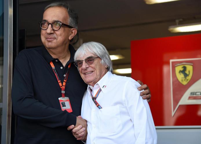 Sergio Marchionne (links) met Bernie Ecclestone.