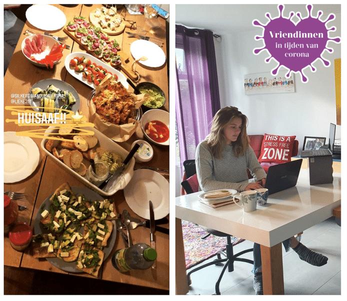 Lekker eten, werken en studeren. De vriendinnengroep moet er zelf wat van maken in deze coronatijd.