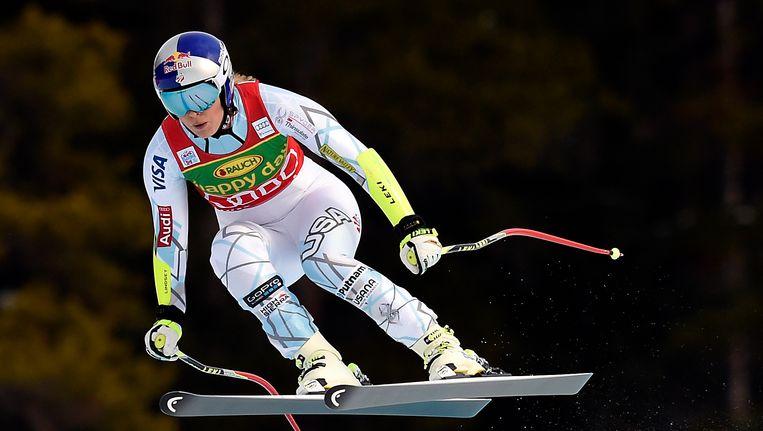 Lindsey Vonn in actie tijdens de Super G van vorig jaar in Lake Louise. Beeld USA Today Sports