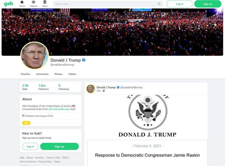Eerste bericht van Donald Trump op sociaal medium platform Gab. Beeld Gab