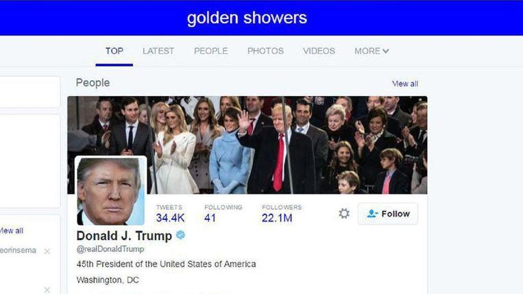Wie op zoektermen als 'asshole', 'golden showers' of 'tiny hands' zoekt, krijgt het offidiële profiel van Donald Trump bij de resultaten.  Beeld Twitter