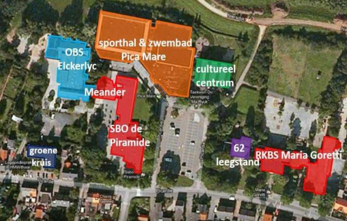 Plattegrond van de plek waar het integraal kindcentrum Gennep zou moeten komen.