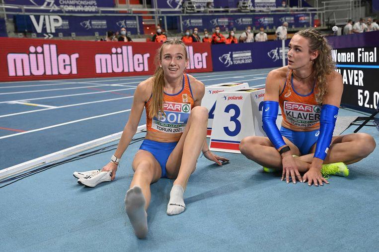 Femke Bol behaalt winst op de 400 meter.  Beeld AFP