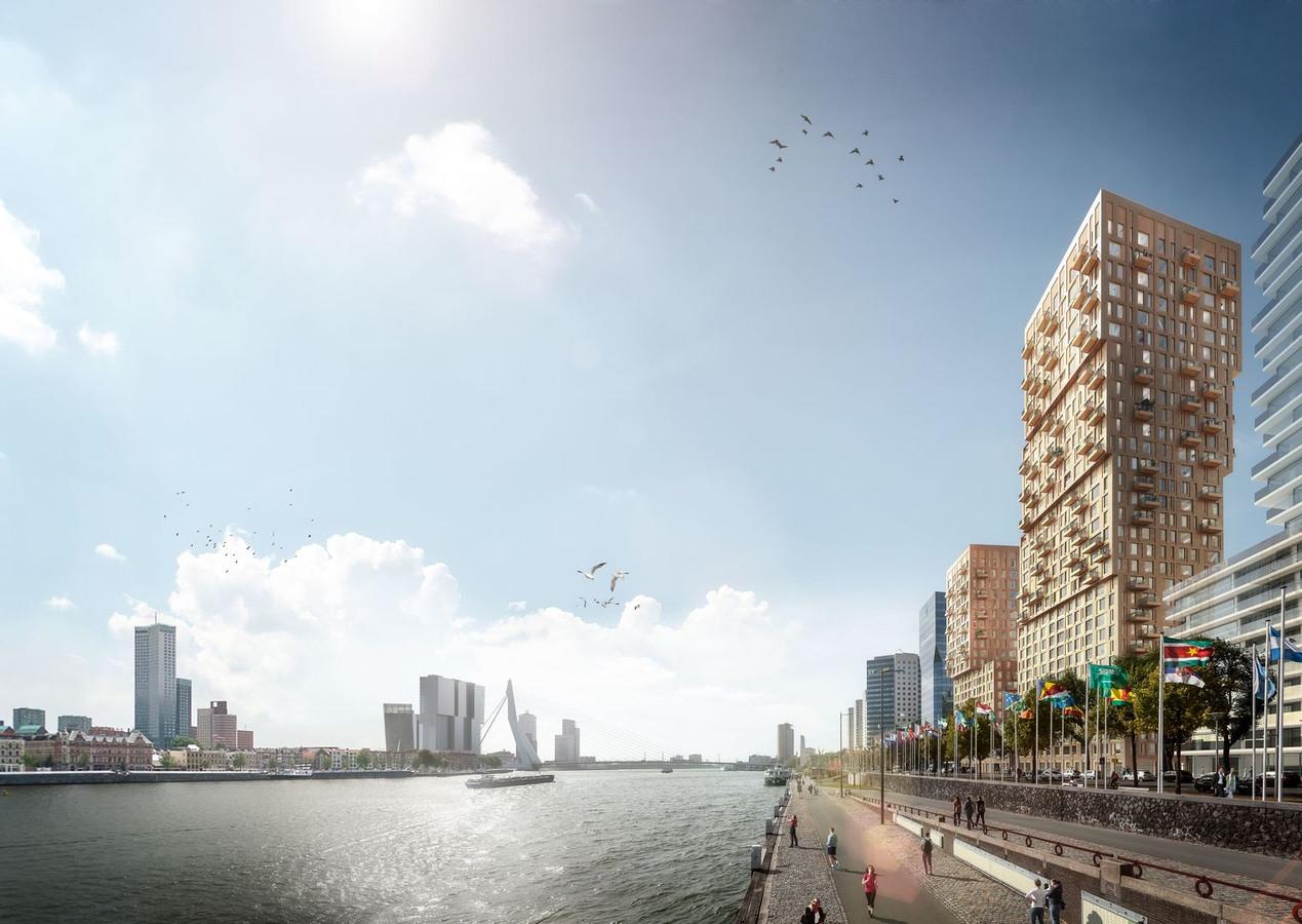 Zoals het een Rotterdams nieuwbouwproject betaamt, gaat het de hoogte in: 70 en 100 meter.