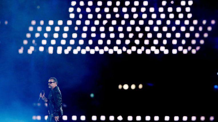 George Michael gisteravond bij de slotceremonie van de Olympische Spelen. Beeld getty