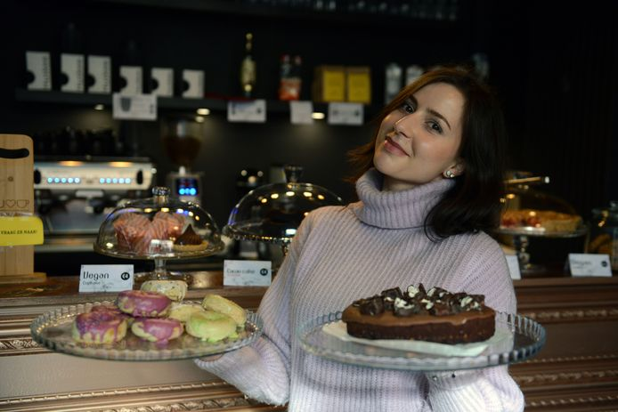 Het vegan gebak van We Love Coffee in de Diestsestraat in Leuven.
