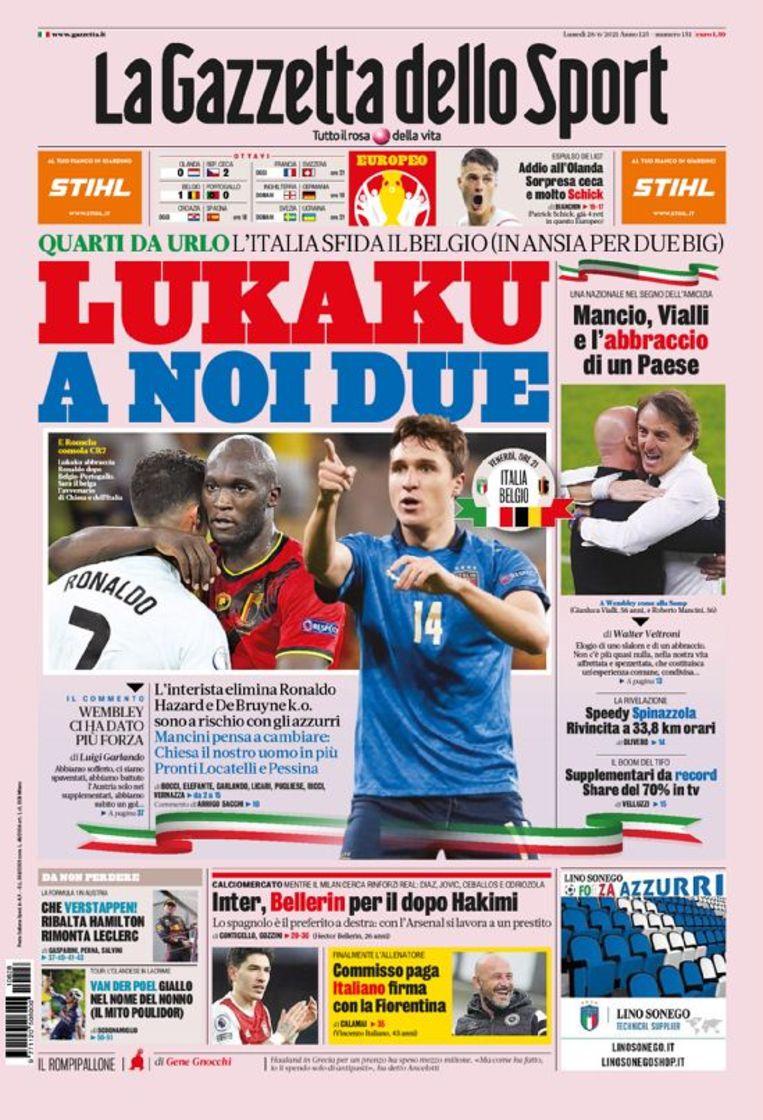 Lukaku op de cover van 'La Gazetta'. Beeld RV