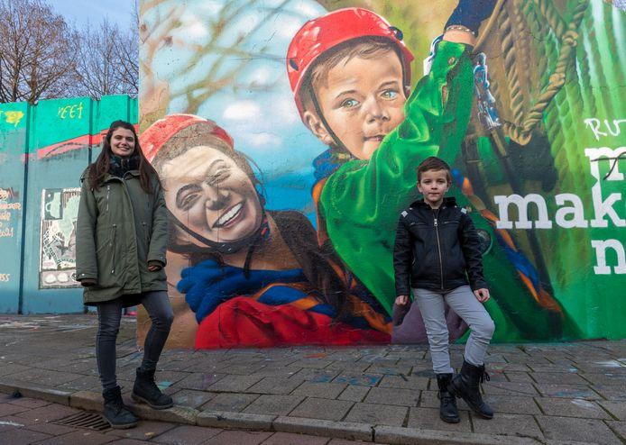 Graffiti in de Berenkuil in Eindhoven, als bedankje scouting, met Floor en Collin die model hebben gestaan voor de grafitti tekening.