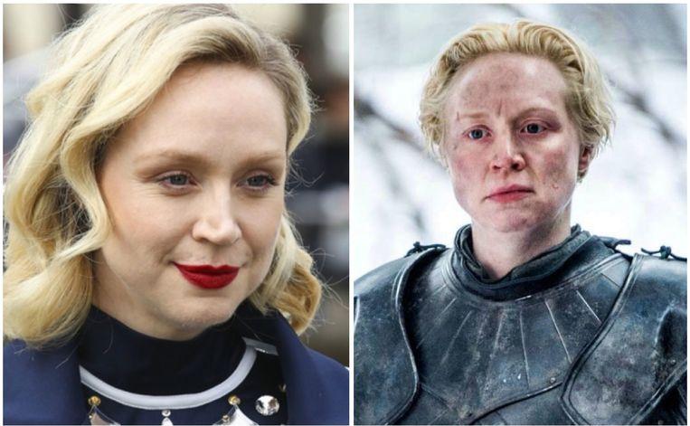 Gwendoline Christie op de rode loper (links) en als Brienne in 'Game Of Thrones'.
