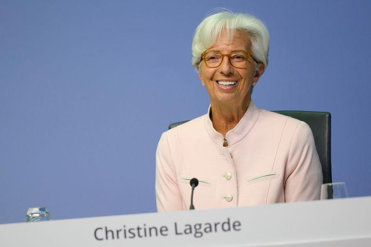 Christine Lagarde, president van de Europese Centrale Bank. Beeld Martin Lamberts/European Central