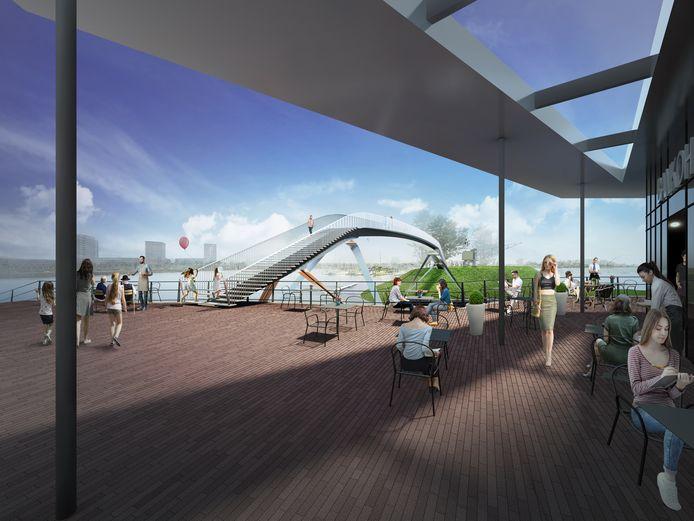 Een illustratie van de nieuw voetgangersbrug over de Waalhaven.