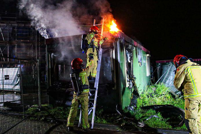 Bouwkeet in brand in Helmond.