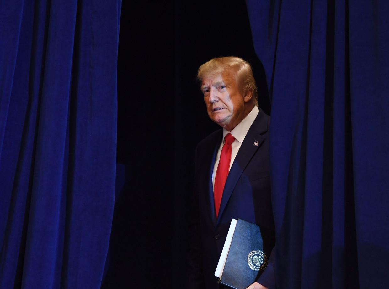 De Amerikaanse president Donald Trump. 'Opvallend overigens dat bijna alle Democratische kandidaten bejaard zijn' Beeld AFP