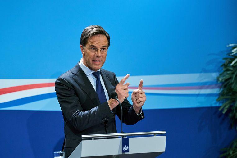Minister-president Mark Rutte tijdens de wekelijkse persconferentie na de ministerraad. Beeld ANP
