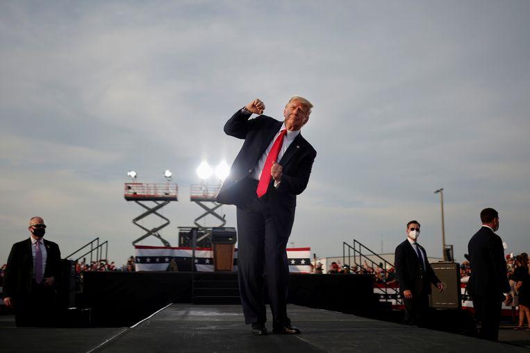 Trump op een campagnebijeenkomst in oktober vorig jaar. Beeld REUTERS