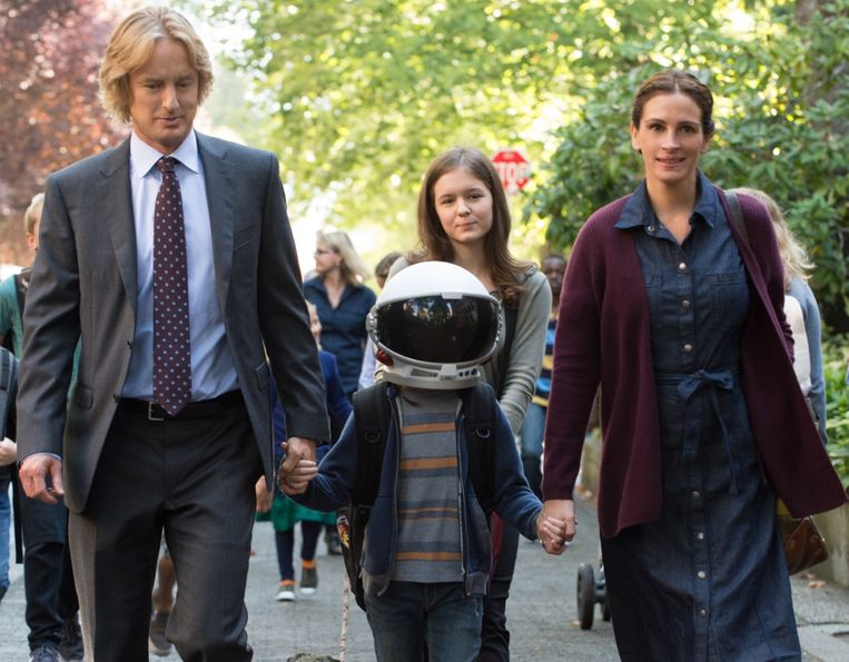Owen Wilson, Jacob Tremblay en Julia Roberts in Wonder van Stephen Chbosky Beeld