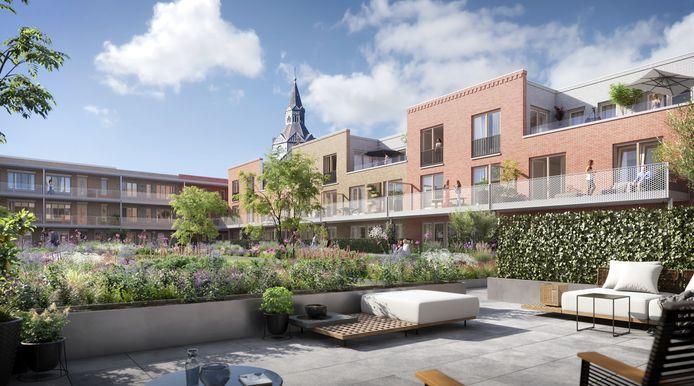 Impressie van de daktuin van het nieuwe woonwinkelcentrum Marktplein in Vught.