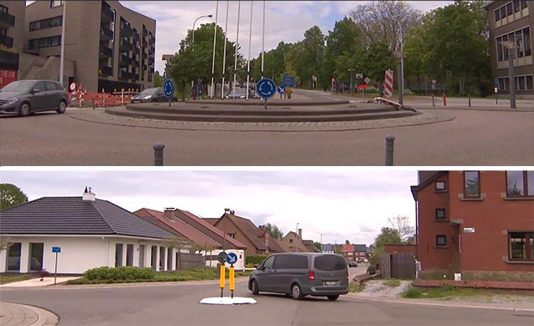 Boven: een rotonde Onder: een rondpunt Beeld VTM NIEUWS