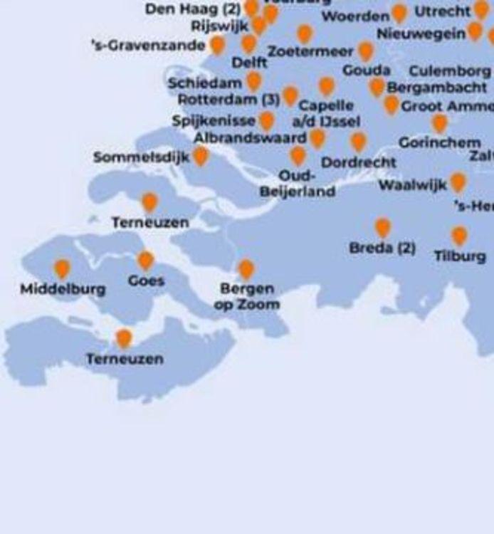 Uitsnede uit kaart die Hugo de Jonge donderdag op Facebook plaatste