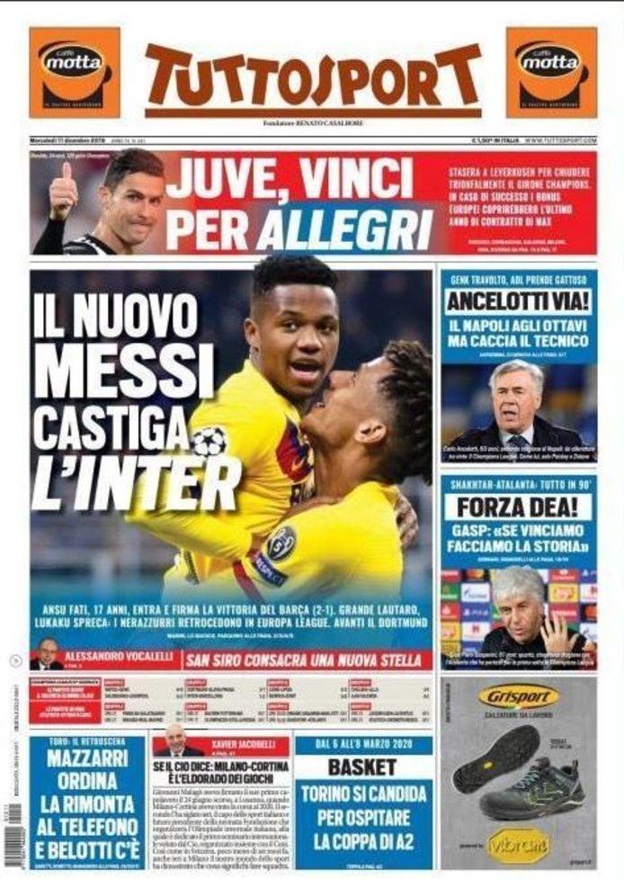 'De nieuwe Messi doet Inter dood', zo staat het op de voorpagina van het Italiaanse 'Tuttosport' vandaag.