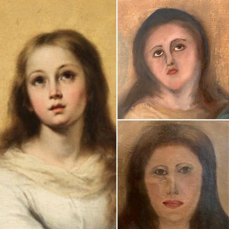 Het oorspronkelijke werk van Bartolomé Esteban Murillo (links) en twee pogingen tot restauratie. Beeld Verzamelaar / Europa Press