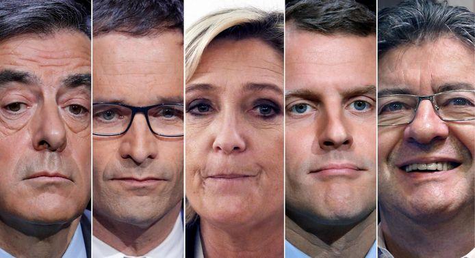 François Fillon (LR), Benoît Hamon (PS), Marine Le Pen (FN), Emmanuel Macron (En Marche!) et Jean-Luc Mélenchon (Parti de gauche)