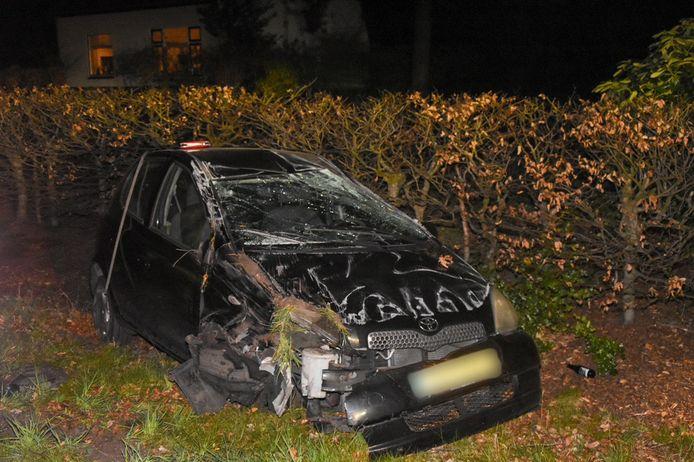 De auto knalde eerst tegen een boom en vloog daarna over de kop.