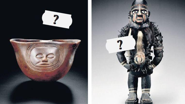 Drie beelden uit de Afrikacollectie die het Wereldmuseum Rotterdam in de uitverkoop doet. Met de verkoop hoopt het museum zonder subsidie te kunnen draaien. Beeld