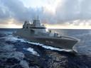 Een impressie van het Duitse fregat MKS 180. Damen Shipyards Group gaat met Duitse scheepsbouwers vier van deze fregatten bouwen voor de Duitse marine.