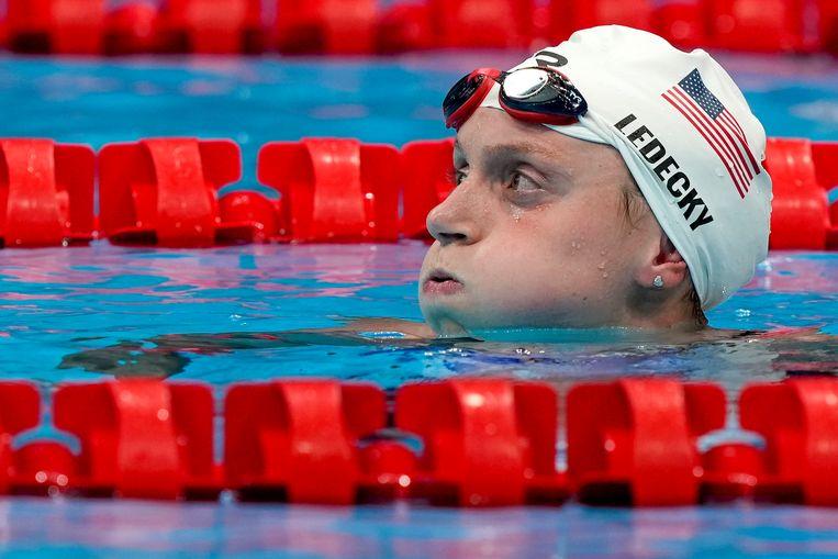 Katie Ledecky is tweede op de 400 meter vrij. Beeld AP