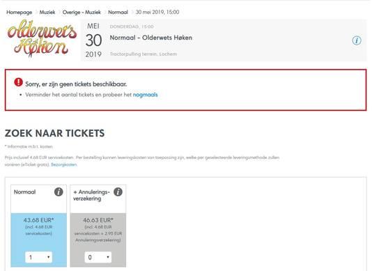 Melding op de site van  Ticketmaster om 10.02 uur, over de kaarten voor het concert 'Olderwets Høken' van Normaal.