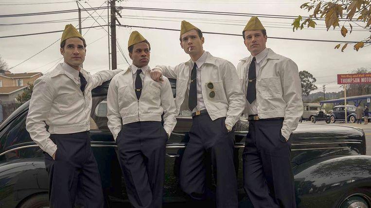 Van links naar rechts: David Corenswet, Jeremy Pope, Darren Criss en Jake Picking in 'Hollywood'. Beeld