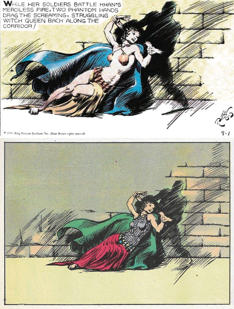 Preutsheid in de VS. Boven een ongecensureerd, onder het later gecensureerde plaatje uit 1935 van Alex Raymonds bekende reeks 'Flash Gordon'. Beeld RV