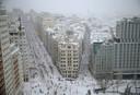 Het centrum van Madrid kreeg tot een halve meter sneeuw te verwerken.