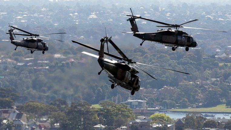 Helikopters van het Australische leger bij een antiterrorismeoefening in Sydney, augustus 2011. Beeld AP