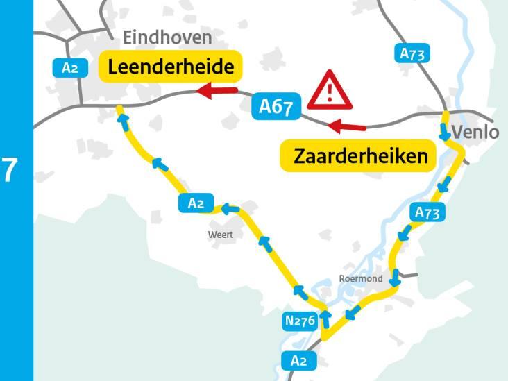 A67 richting Eindhoven dicht na ongeluk met vrachtwagen