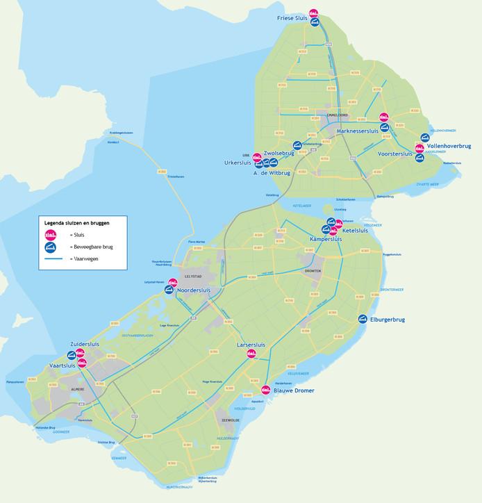 Een overzicht van bruggen en sluizen in Flevoland die in de komende vijf jaar een opknapbeurt krijgen.
