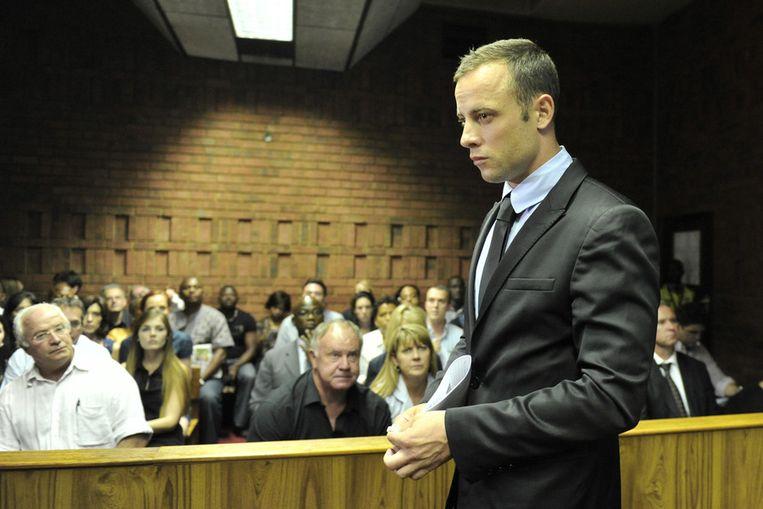 Pistorius vandaag in de rechtbank van Pretoria. Beeld getty