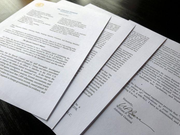 De vier pagina's tellende brief van minister van Justitie William Barr.