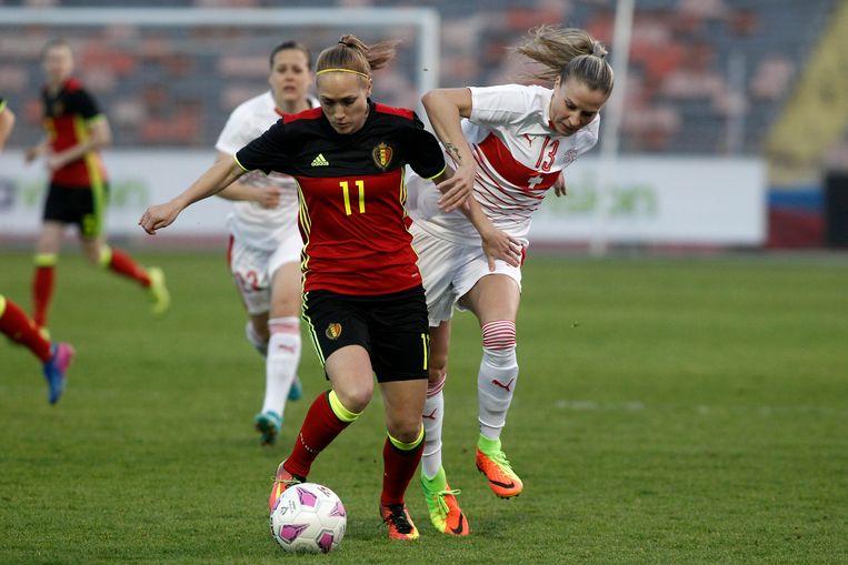 Janice Cayman vorig jaar tegen Zwitserland op de Cyprus Cup.